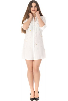 Modkofoni Nakış Işlemeli Beyaz Tunik