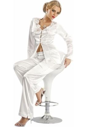 Mite Love Seksi Saten Gecelik Pijamalı Takım Beyaz