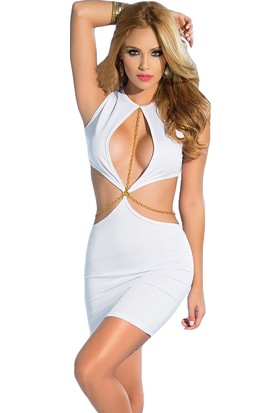 Mite Love Seksi Dekolteli Fantazi Elbise Beyaz