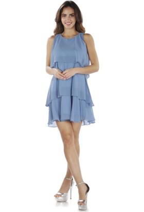 6Ixty8Ight Mavi Şifon Kısa Abiye Elbise