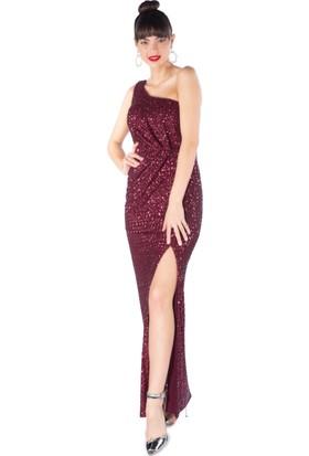 6Ixty8Ight Bordo Payetli Desenli Tek Omuz Uzun Abiye Elbise