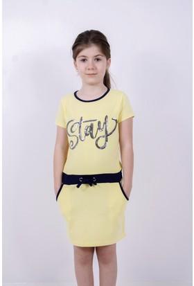 4daf8342975d1 Toontoy Kız Çocuk Elbise Stay Pul Nakış Sarı 12 Yaş K-137 ...