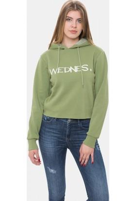 Cazador Yağ Yeşili Kadın Kapşonlu Sweatshirt