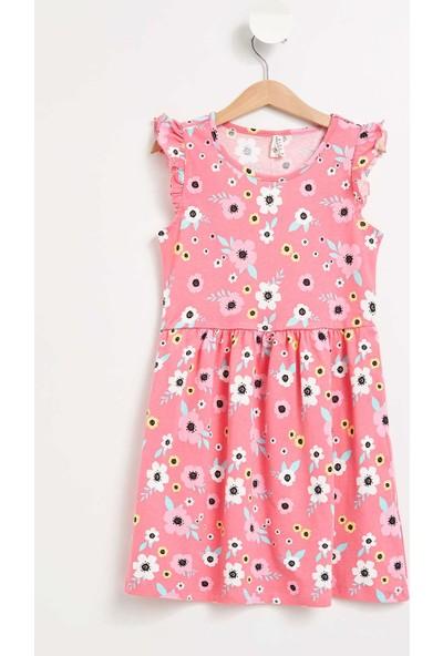 Defacto Kız Çocuk Çiçek Desenli Omzu Fırfırlı Elbise