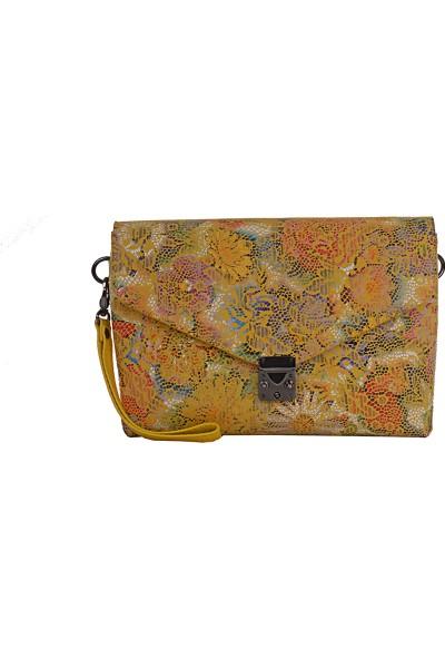 Desisan 3121 Kadın Deri Çapraz / Postacı Çanta Sarı