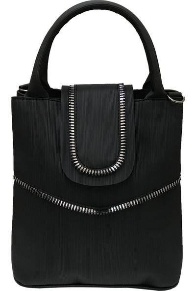 Çanta Stilim Suni Deri Çift Bölmeli Siyah Renk El Ve Çapraz Kadın Çantası