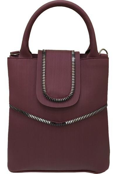 Çanta Stilim Suni Deri Çift Bölmeli Bordo Renk El Ve Çapraz Kadın Çantası