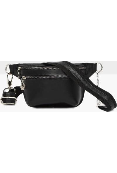 Çanta Stilim Yeni Sezon Suni Deri Çift Bölmeli Siyah Renk Kadın Bel Çantası