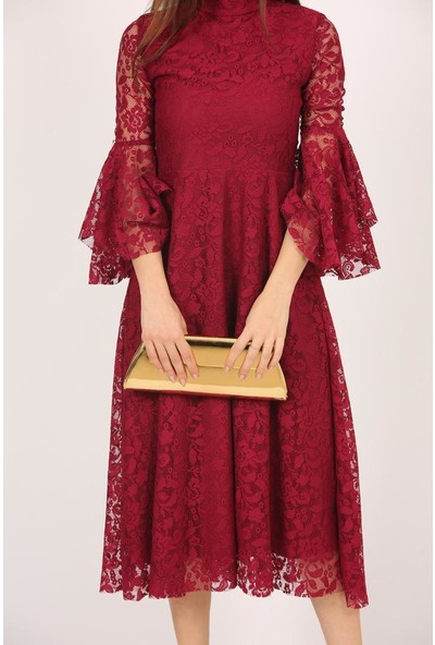 Kıyafetbudur Kol Valon Detay Dantel Elbise
