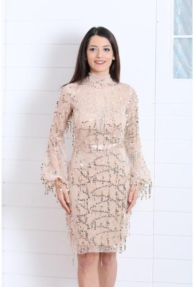 Kıyafetbudur Saçaklı Payetli Elbise