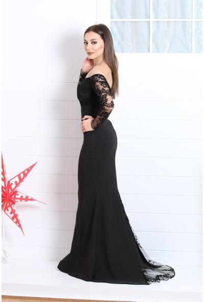 Kıyafetbudur Uzun Kol Flok Baskı Balık Elbise