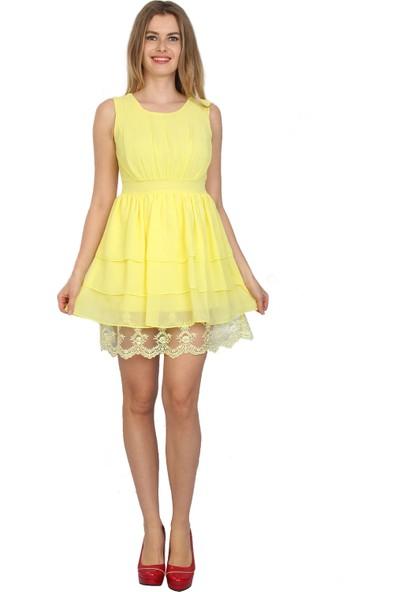 Moda Labio - Dantelli Mini Elbise Sarı