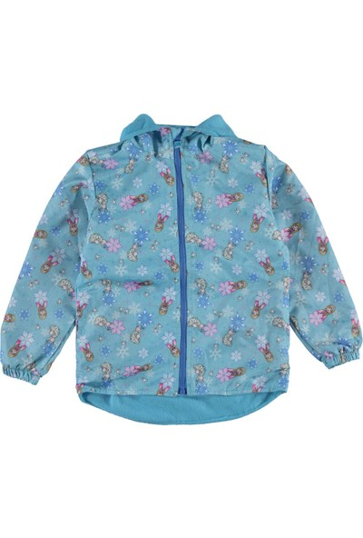 Frozen Kız Çocuk Kapüşonlu Yağmurluk 5-9 Yaş Mavi
