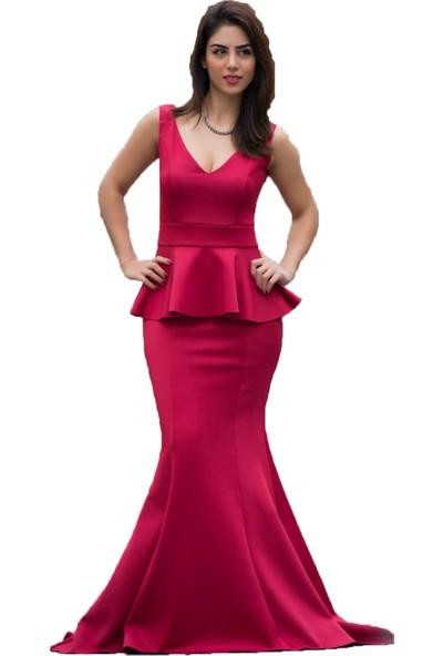 Barevsu Scuba Kumaş Balık Kadın Abiye Elbise 163