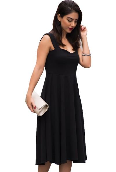 Barevsu Scuba Kumaş Midi Kadın Abiye Elbise 40