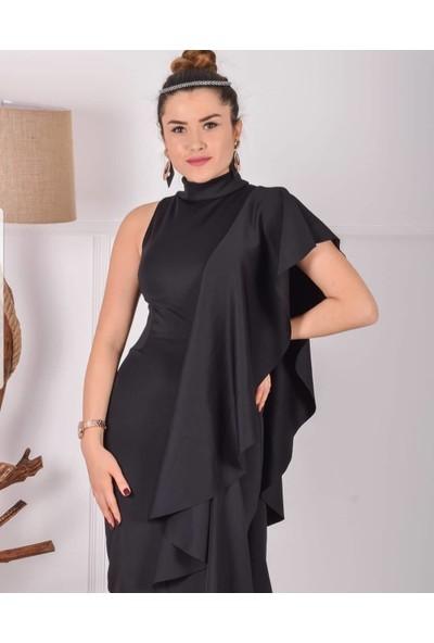 Barevsu Scuba Kumaş Şal Yaka Kadın Abiye Elbise 524