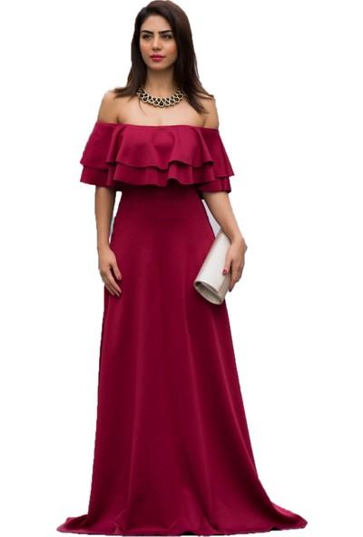 Barevsu Scuba Kumaş Volanlı Kadın Abiye Elbise 599