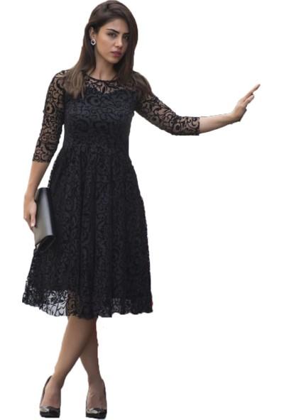 Barevsu Flog Baskı Dantel Midi Kadın Abiye Elbise 630