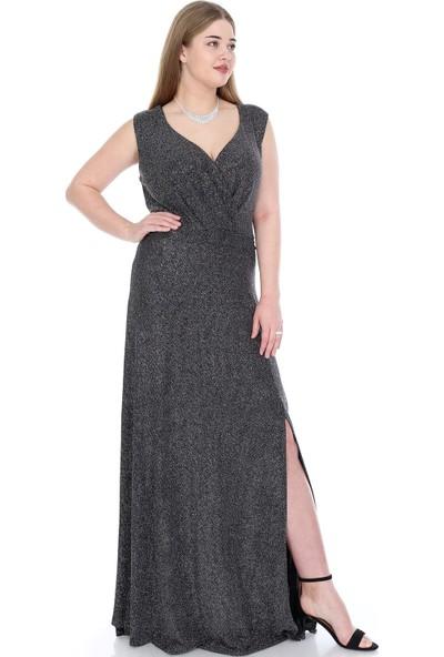 Angelino Butik Büyük Beden Zarif Uzun Abiye Elbise Kl128 Siyah