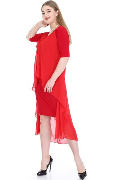 Angelino Butik Büyük Beden Şifon Midi Elbise Kl7052 Kırmızı