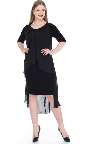 Angelino Butik Büyük Beden Şifon Midi Elbise Kl7052 Siyah