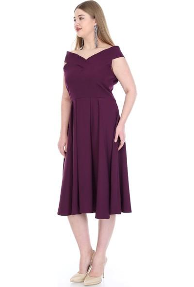 Angelino Butik Büyük Beden Kayık Yaka Elbise Kl812 Mor