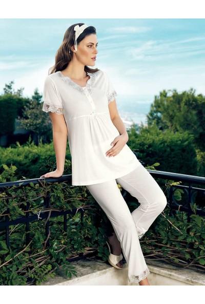 Şahinler Kadın Beyaz Lohusa Pijama Takımı MBP24120-1