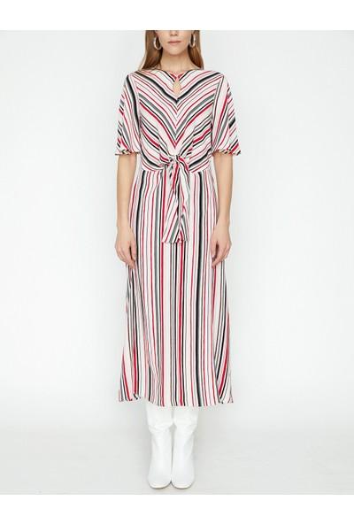 Koton Çizgili Elbise