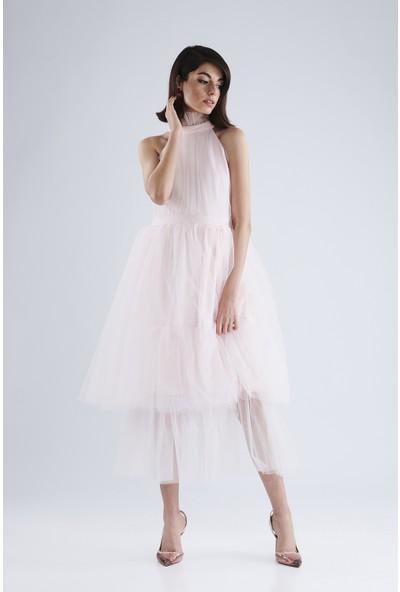 Lyn Devon Kadın Mina Tül Elbise Pembe