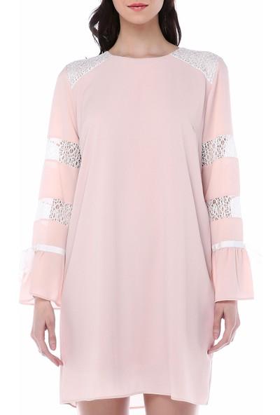 Sense 14998 Dantelli Kurdelalı Krep Elbise