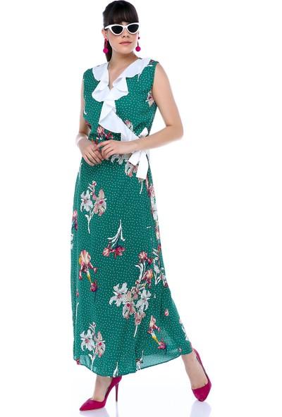 Sense 31470 Çiçekli Ön Volanlı Kusaklı Elbise