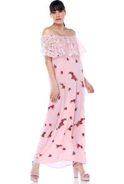 Sense 31504 Robası Dantelli Eteği Sulu Uzun Elbise