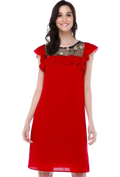 Sense 31525 Robalar Çiçekli Tül Fırfırlı Yaka Biye Elbise