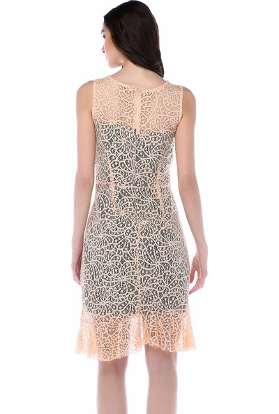 Sense 31915 Etek Ucu Fırfırlı Dantel Elbise