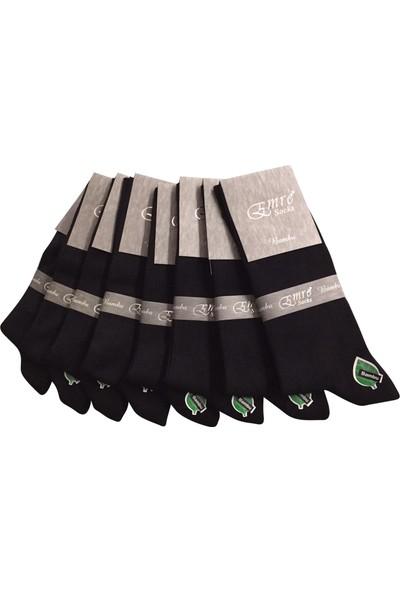 Emre 8 Li Siyah Bambu Erkek Çorap Dikişsiz Solmaz