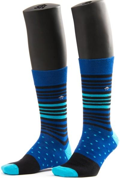 The Socks House Çember Puantiye Desenli Mavi Çorap