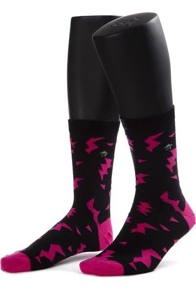 The Socks House Pembe Yıldırım Desenli Çorap