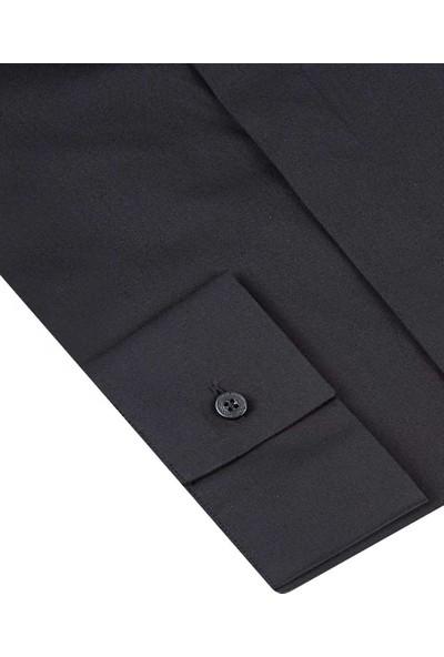 Tween Slim Fit Siyah Gömlek