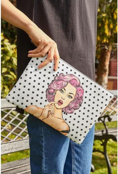 Lafaba Kadın Beyaz Puantiyeli Pop Art Çanta