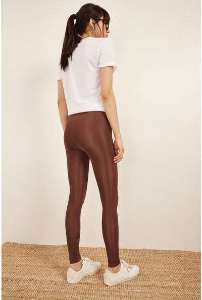 Lafaba Kadın Kahverengi Parlak Tayt