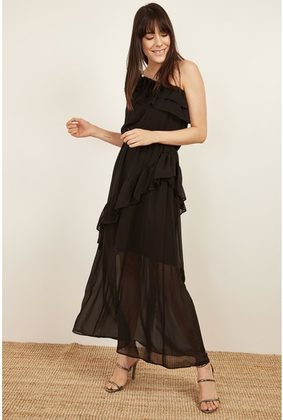 Lafaba Kadın Siyah Tek Omuzlu Uzun Elbise