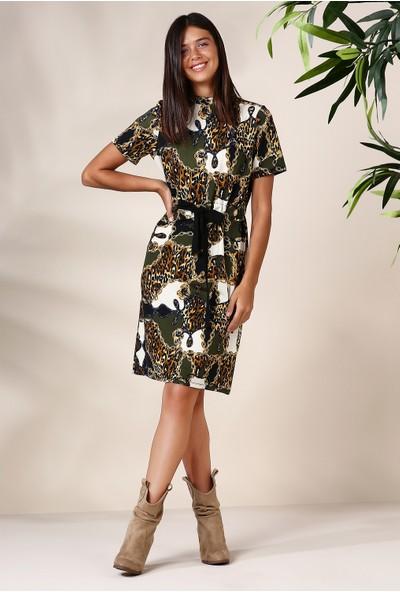 Defacto Kadın Yüksek Yakalı Uzun Elbise