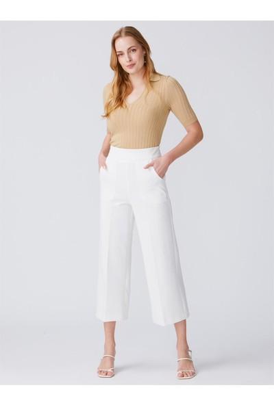 Dilvin 7999 Cep Detaylı Yüksek Bel Pantolon-Beyaz