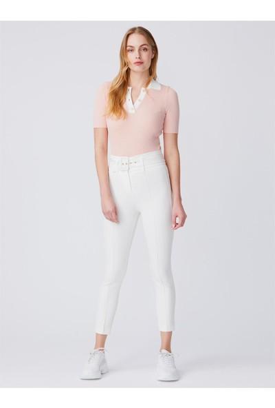 Dilvin 7968 Kemerli Pantolon-Beyaz