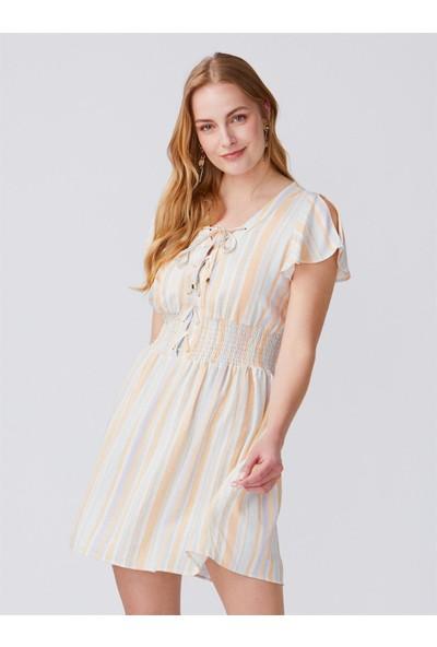 Dilvin 9990 Beli Gipeli Kuşgözlü Elbise-Mint