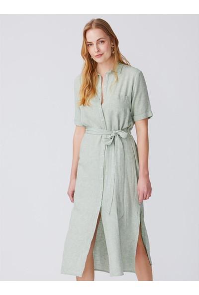 Dilvin 9985 Kısa Kol Önden Düğmeli Uzun Elbise-Mint