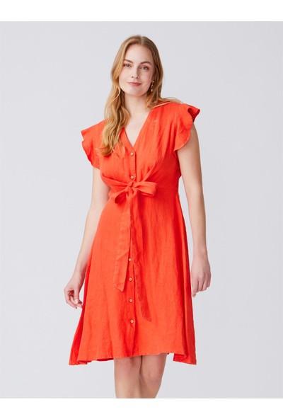 Dilvin 9982 Kolu Fırfırlı V Yaka Elbise-Nar Çiçeği