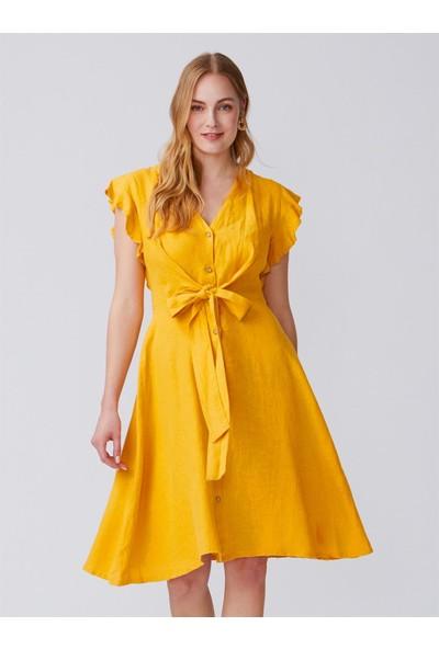 Dilvin 9982 Kolu Fırfırlı V Yaka Elbise-Hardal