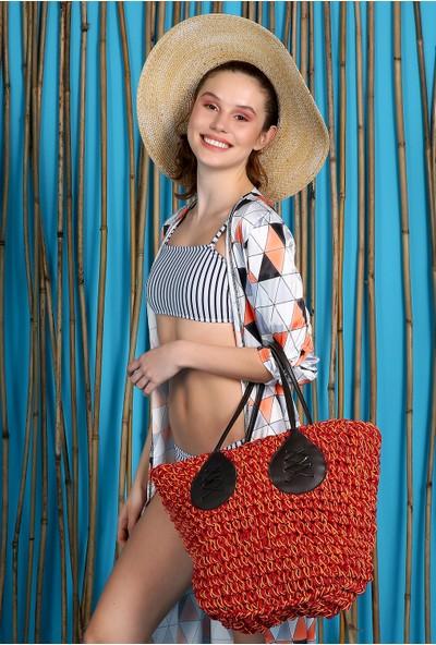 New Laviva Gri Kadın Deometrik Desenli Püsküllü Uzun Ceket