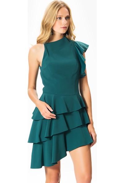ac7a31033608e Roman Fırfır Detaylı Yeşil Mezuniyet Abiye Elbise ...